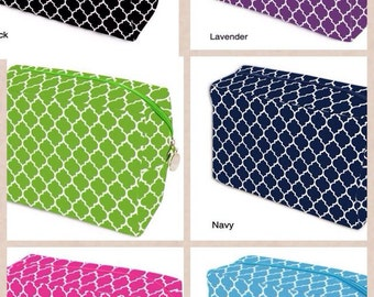 Quatrefoil cosmetic bag in multiple colors monogrammed