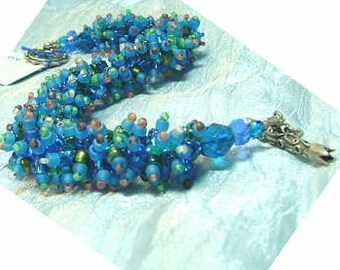 WOOLY WORM bracelet, --Exploring Aqua no. 4-- one of a kind, fabulous bracelet