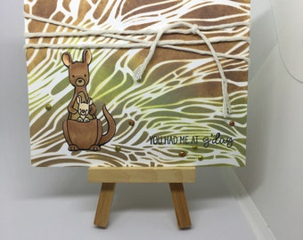 Just because card, hello card, kangaroo, you had me at g'day, handmade greeting card, handmade kangaroo card