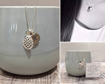 Sterling Silver Pineapple Necklace with Initial Tag and Personalised Scripture, Christian Necklace (free gift box)