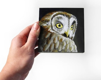 Hoot Owl mini painting - realistic owl art - miniature wall hanging - autumn decor - neutral fall colors - night owl wildlife art - owl gift