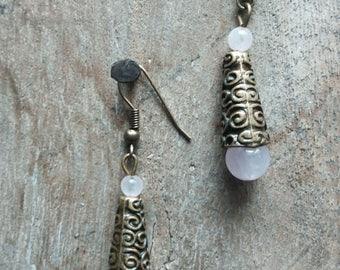 1287 ethnic earrings in brass and rose quartz