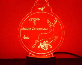 Christmas Bauble with Mistletoe and Reindeer Colour Changing LED Acrylic Light