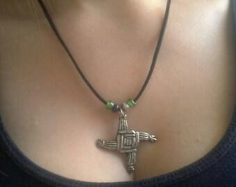 Handmade pewter St Brigid's cross pendant with glass beads.
