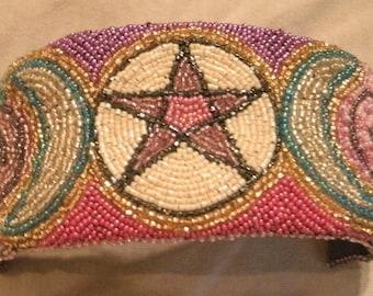 Purple, Pink, Cream, Multi Color Pentacle Pentagram Hand Bead Embroidered Cuff Bracelet