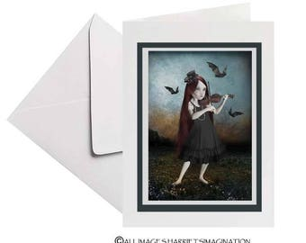Art Greeting Card | Goth Girl | Violinist | Bats | Blank Art Card | Girl And Bats | Just Because Card | Unique Card | The Song She Played