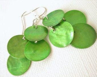Green Shell Earrings, St. Patricks's Day Jewelry Green Mussel Shell Earring Green Earring Shell Chandelier Earring St. Patrick's Day Earring