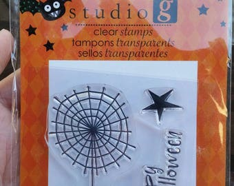 Studio G Clear Stamps - Halloween Theme - spider with web, star, happy halloween - paper stamping and card making