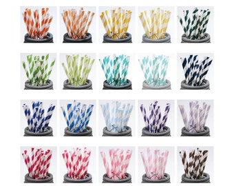75 Printed Design Paper Straws with Editable PDF File - Stripes and Dots - Mix and Match Colors - Weddings - Parties - Favors