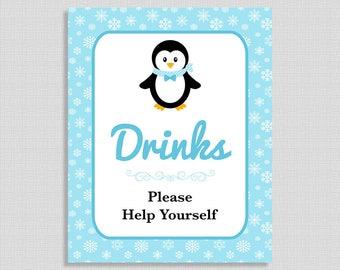 Penguin Drink Shower Table Sign, Blue Snowflake Shower Sign, Winter Penguin, Drinks Sign, INSTANT PRINTABLE
