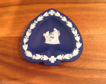 Vintage Wedgewood Jasperware Dark Blue Ashtray
