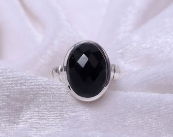 Natural Black Onyx Ring 925 Sterling Silver Ring Anniversary Ring By Plutus Jewel World