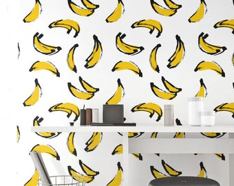 Banana Wallpaper, Removable Wallpaper, Self-adhesive Wallpaper, Unique Wallcovering, Jungle Wall Décor, Jungle Wallcovering - JW_101