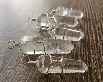 Clear Quartz  Necklace - handmade wire wrapped pendant- Double Terminated point - Clear Quartz Pendant- Healing stones ans crystals