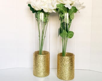 "Set Of 2  15"" Tall Vases, Wedding Centerpiece Dipped Vases,Glitter Vase, Painted Vase,Cylinder Glass Vase, Gold Centerpieces, Wedding Vases."