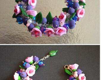 Charm bracelet Gift idea Bracelet for her Gift for girls Summer jewelry Gift for women Pink bracelet Birthday gift Polymer clay Jewelry boho