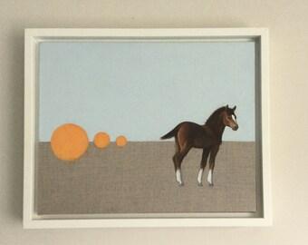 horse painting, portrait, oil painting, equine art, horse art, framed