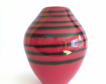 Vase, Red, Green Stripe, Glass Vases, Amphora, Hand Blown, Blown Glass, Handblown, Glassblowing, Hourglass, Home Décor