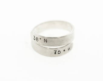 GPS Coordinates Bar Ring, Sterling Silver, Latitude Longitude Jewelry