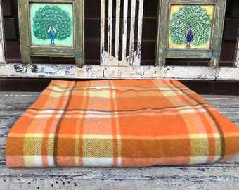 Vintage Orange  Blanket - 100% Wool - Single Bed - Made in Australia  - Check - Single bed