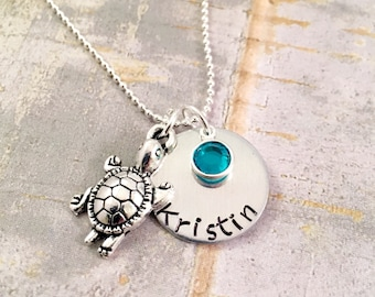 Personalized turtle name necklace, turtle necklace, name necklace, baby turtle jewelry, beach jewelry, ocean jewelry, save the turtles