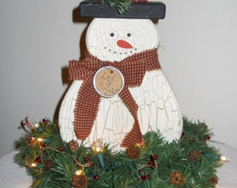 Christmas and Winter Weathered Wood Snowman with Lighted Pine