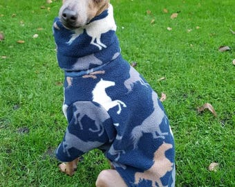 Warm Italian Greyhound vest with 3/4 sleeve and snood made by UniDog from soft, anti-pill fleece