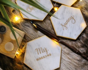 4 Customized Calligraphy Hexagon Marble Coasters | Wedding Place Cards | Escort card | Personalized Hexagon Coaster | Wedding Favors |