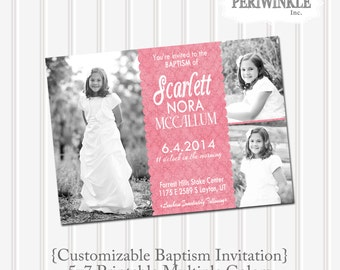 LDS Baptism Invitation-Girl Baptism Announcement-Custom Picture Baptism-LDS-Primary-Digital File-Mormon