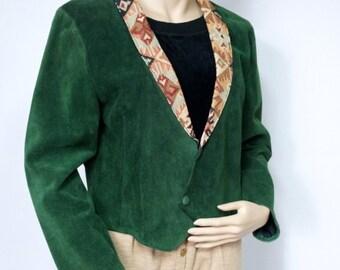 Jacket Vintage Suede Jacket Leather 1970s Southwest Crop Bolero Tapestry Collar Steer Brand Size Large Women