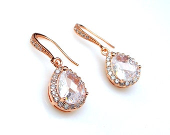 wedding jewelry bridesmaid gift party prom bridal christmas earrings Clear white teardrop diamond cubic zirconia rose pink gold earrings