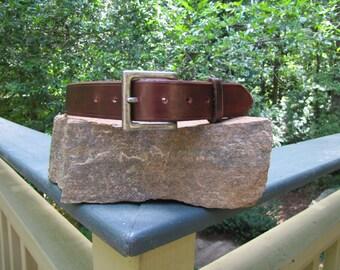 "Brown full grain leather belt 1 1/2"" with nickel buckle"