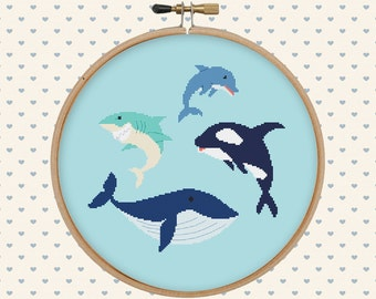 Sea animal cross stitch pattern pdf - orca, whale, dolphin, shark - instant download - nautical cross stitch