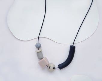 Landscape Necklace - Naturals (leather + clay beads)