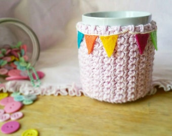 Bunting banner cozy, flags, rainbow garland, coffee love, coffee sleeve, pink, tea cosy, coffee cozy, Christmas gift, stocking stuffer