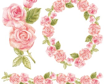 Watercolor wreath, watercolor border, hand painted clipart, roses, wedding frame