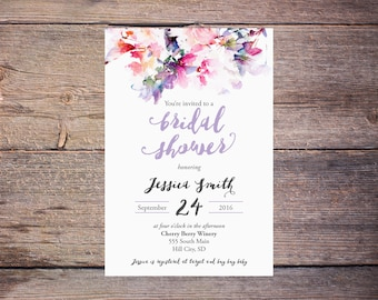 Lilac Watercolor Floral Bridal Shower Invitation Floral Wedding Shower Invite Modern Watercolor Flowers Wedding DiY Printable- Jessica