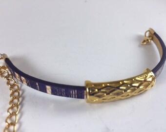 Gold/Purple bracelet with gold slider