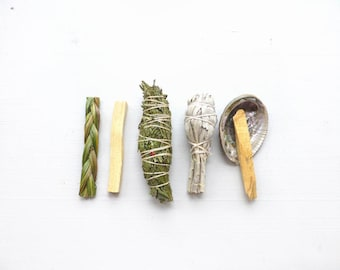 Smudge Kit//Cedar bundle//Sage smudge stick//Palo Santo//Abalone shell//Housewarming Gift//Wedding gift//Spiritual support//New Home