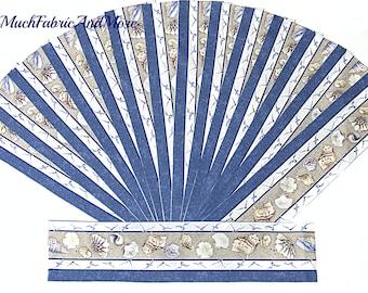 """15-Seashells fabric strips-each strip 4""""x 18""""-seagulls-beach-ocean-nautical-cotton-sea-quilting strips"""