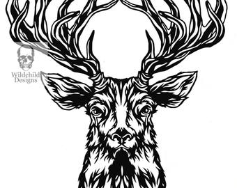 Facing Stag Head Paper Cutting Template for Personal or Commercial Use Papercut Cut Wildchild Designs Woodland Hunting Forest Spirit Guide