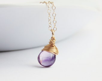 Purple rainbow fluorite gemstone wire wrapped pendant 14k gold filled chain necklace