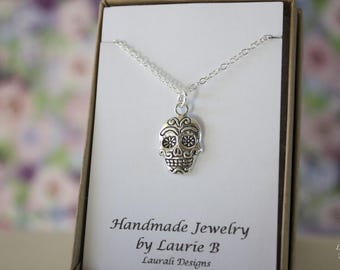 Sugar Skull Charm Necklace, Friendship Gift, Sterling Silver, Bestie Gift, Skull Charm, Day of the Dead Necklace, Mexican, Thank you card