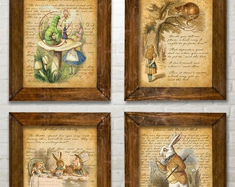 Alice In Wonderland Set of Four Prints (8x10) Unframed - Makes a Great Gift for Home Decor