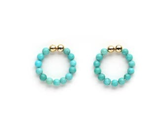 Turquoise Beaded Non Pierced Earrings - December Birthstone Jewelry