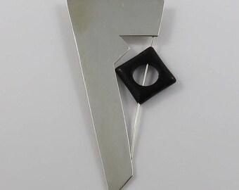 Sterling Silver Modern Brooch with Black Onyx