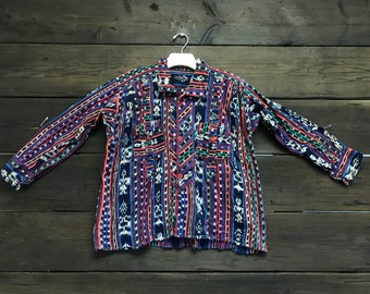 Vintage 60s Tribal Print Button-Up