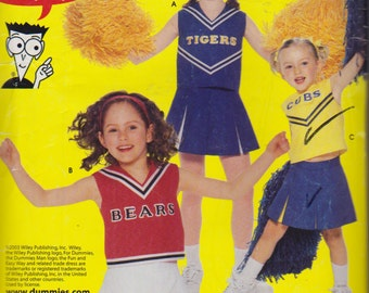 Cheerleader Costume, Cheerleader Uniform Pattern for Sizes 8,10 and 12, Cheerleader Skirt, Panties, Simplicity Sewing Pattern 0635 Halloween
