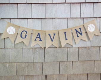 Custom Personalized Name Banner, Baseball Nursery Decor, Baby Boy Nursery, Burlap Garland Bunting, Baby Shower Decor, Baseball Shower Decor