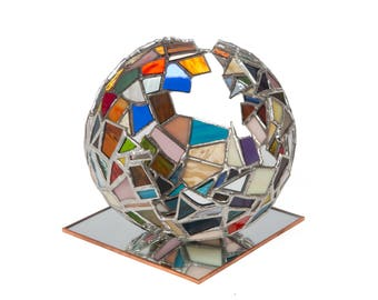 7 inch Mosaic glass globe sphere - stained glass - multicolored rainbow - mirror pedestal - Tiffany glass method -